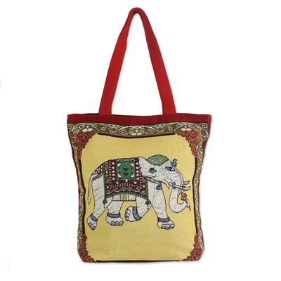 Embroidered Summer Thai Elephant Cotton Shoulder Handbag