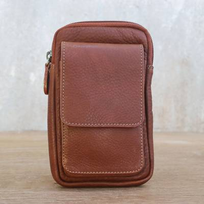 f15ac6b130c6 Handmade Chestnut Brown Leather Waist Bag from Thailand, 'Perfect Travels'