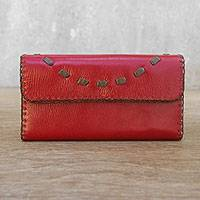 Leather clutch handbag, 'Chic Efficiency in Crimson' - Thai Handcrafted Leather Wallet in Crimson