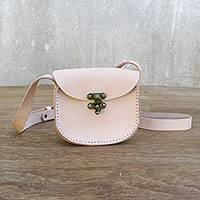 Leather sling, 'Wanderlust in Petal Pink' - Small Petal Pink Leather Sling Handbag Handmade in Thailand