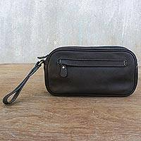 Leather wristlet, 'Cool Espresso' - Espresso Leather Wristlet Handcrafted in Thailand