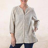 Cotton blouse, 'Cozy in Taupe' - Handmade Classic Taupe Striped Cotton Button Up Blouse