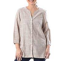 Cotton blouse, 'Cozy in Dusty Mauve' - Handmade Mauve Striped Cotton Long Sleeved Button Up Blouse