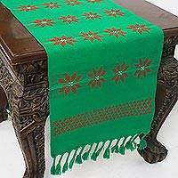 Cotton table runner, 'Lisu Festivities' - Handwoven Cotton Table Runner in Green from Thailand
