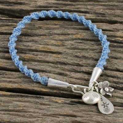Novica Silver charm bracelet, Karen Power - Unique Hill Tribe Fine Silver Charm Bracelet
