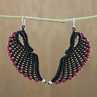Tourmaline dangle earrings, 'Red Free Wings' - Handmade Black Cord Tourmaline Beaded Wing Dangle Earrings