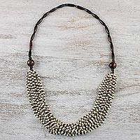 Wood beaded necklace, 'Rising Summer Ivory'