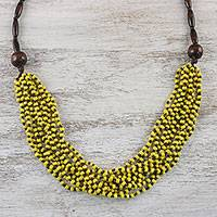 Wood beaded necklace, 'Rising Summer Yellow'