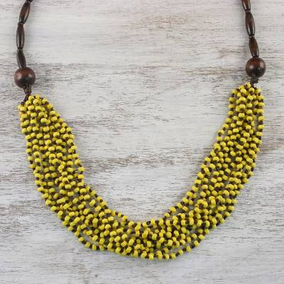 Wood beaded necklace, 'Rising Summer Yellow' - Handcrafted Littleleaf Boxwood Yellow Beaded Necklace