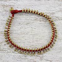 Brass beaded anklet,  'Lunar Red' - Handmade Red Knotted Brass Beaded Red Cord Anklet