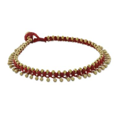Handmade Red Knotted Brass Beaded Red Cord Anklet
