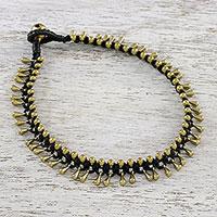 Brass cord anklet,  'Lunar Black'