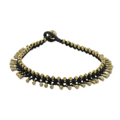 Brass cord anklet,  'Lunar Black' - Handmade Lunar Black Knotted Brass Black Cord Anklet