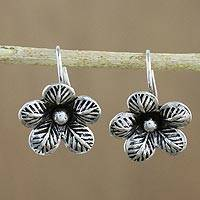 Sterling silver drop earrings, 'Garden Love' - Artisan Crafted Sterling Silver Garden Flower Drop Earrings