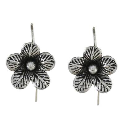 Sterling silver drop earrings, 'Garden Love' - Artisan Crafted Sterling Silver Garden Flower Drop Earrings