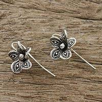 Sterling silver drop earrings, 'Elegant Garden' - Artisan Crafted Sterling Silver Thai Flower Drop Earrings