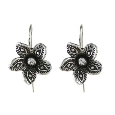 Sterling silver drop earrings, 'Elegant Garden' - Artisan Crafted Sterling Silver Thai Flower Drop Earrings