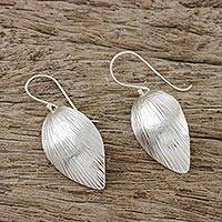 Sterling silver dangle earrings, 'Dancing Silver' - Sterling Silver Dancing Leaves Dangle Earrings