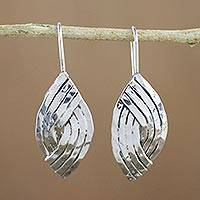 Sterling silver drop earrings, 'Woven Silver' - Sterling Silver Woven Stripes Drop Earrings from India