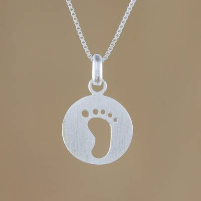 Sterling silver pendant necklace, 'Footprint' - Sterling Silver Footprint Pendant Necklace from Thailand