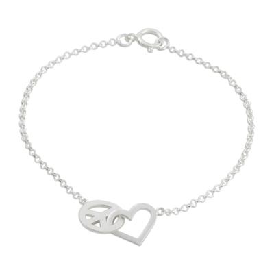 Sterling silver pendant bracelet, 'Love for All' - Heart and Peace Sterling Silver Pendant Wristband Bracelet