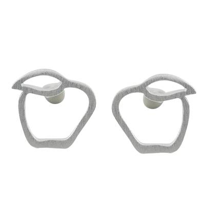 Sterling Silver Apple Stud Earrings from Thailand