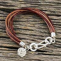 Leather and silver charm bracelet, 'Ball of Energy' - Leather Cord and Karen Silver Ball of Energy Bracelet