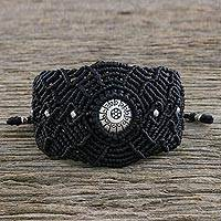Silver and macrame wristband bracelet, 'Woven Unity' - Karen Silver Black Knotted Cord Woven Unity Wristband