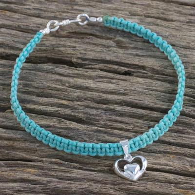 Novica Sterling silver heart pendant bracelet, Loving Knot