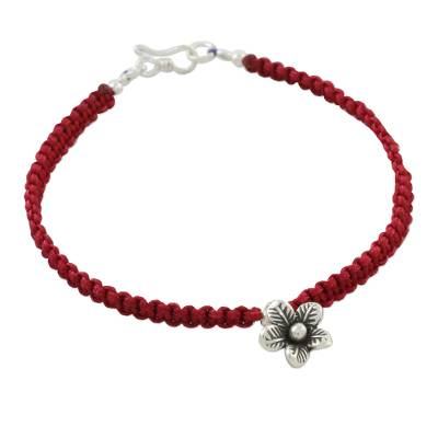 Sterling silver charm macrame bracelet, 'Woven Crimson' - Red Knotted Cord Bracelet with Sterling Silver Flower Charm