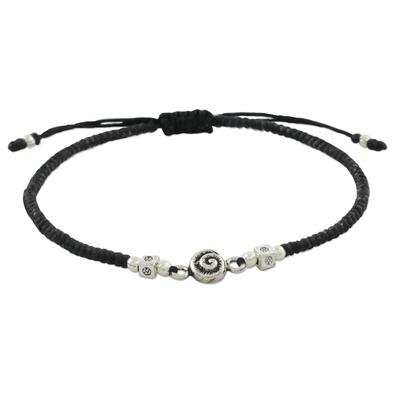 Silver pendant bracelet, 'Spiral Simplicity' - 950 Karen Hill Tribe Silver Swirl Pendan Adjustable Bracelet