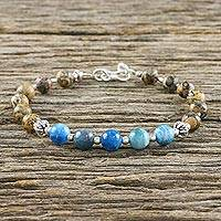 Jasper and agate beaded bracelet, 'Earth Force' - Jasper and Agate Beaded Bracelet from Thailand