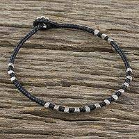 Silver beaded bracelet, 'Simple Om' - Karen Silver Beaded Om Bracelet from Thailand