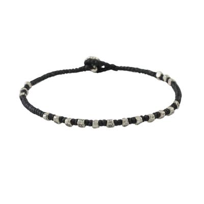 Silver beaded bracelet, 'Simple Om' - Karen Silver Beaded Om Bracelet from Thailand