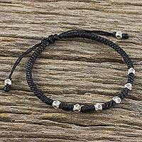 Silver beaded bracelet, 'Karen Sweetness' - Karen Silver Beaded Bracelet from Thailand