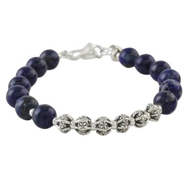 Lapis lazuli beaded bracelet, 'Exotic Lapis' - Lapis Lazuli Beaded Bracelet from Thailand