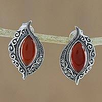 Onyx button earrings, 'Ginger Sunrise' - Sterling Silver Orange Onyx and Marcasite Drop Earrings