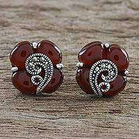 Onyx button earrings, 'Orange Clover' - Sterling Silver Marcasite and Orange Onyx Clover Earrings