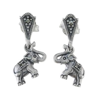 Marcasite dangle earrings, 'Starry Elephants' - Sterling Silver Marcasite Starry Elephant Dangle Earrings