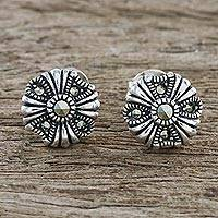 Marcasite stud earrings, 'Antique Flower' - Sterling Silver Marcasite Vintage Inspired Floral Earrings