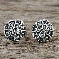 Marcasite stud earrings, 'Starry Flowers' - Sterling Silver Marcasite Starry Flowers Stud Earrings