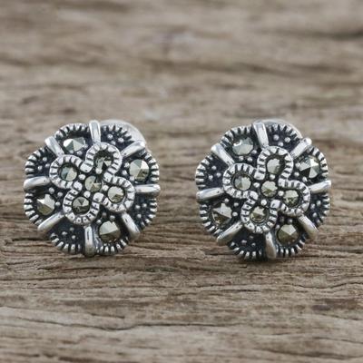 Marcasite Stud Earrings Starry Flowers Sterling Silver