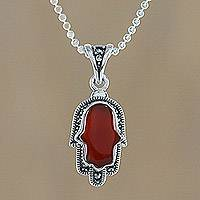 Onyx and marcasite pendant necklace, 'Hamsa Harmony' - Hamsa Harmony Sterling Silver Orange Onyx Pendant Necklace