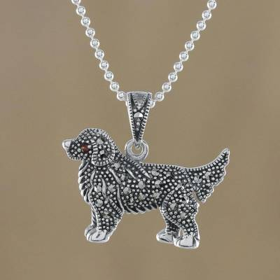 Sterling Silver Marcasite and Garnet Dog Pendant Necklace