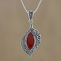 Onyx and marcasite pendant necklace, 'Ginger Sunrise' - Sterling Silver Orange Onyx and Marcasite Pendant Necklace