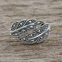Marcasite pave ring, 'Galaxy Leaves' - Sterling Silver Marcasite Double Olive Leaf Pave Ring