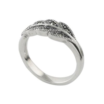 Marcasite pave ring, 'Starry Leaf' - Sterling Silver Marcasite Single Olive Leaf Pave Ring