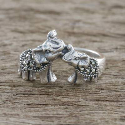 daisy silver ring allergy - Sterling Silver and Faceted Marcasite Elephant Cocktail Ring