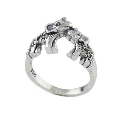 Marcasite cocktail ring, 'Mommy and Me' - Sterling Silver and Faceted Marcasite Elephant Cocktail Ring
