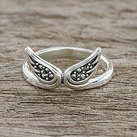 Marcasite cocktail ring, 'Born to Be Free' - Sterling Silver Faceted Marcasite Freedom Wings Thai Ring